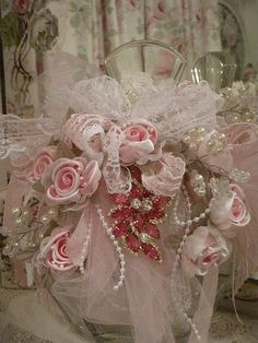 Large Pink Ribbon Rose Embellished bottle