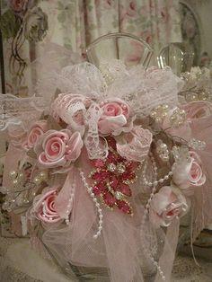 Ribbon,Lace & Rose Embellished Bottle ~❥. Uh, where's the bottle. Definitely a #shabby piece.