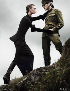 Rick Owens makes a convincing argument for reimagining the long line in an authoritative rather than amorous way.  Rick Owens wool sweater ($1,918), cotton skirt ($1,280), and leather gloves; Rick Owens, NYC. Ann Demeulemeester boots.