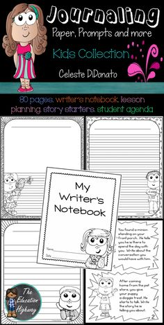 Journal Writing Paper and Prompts. This kids collection has three types of writing paper for primary aged students. Use the writers notebook tabs to stay organized and store writing samples. Fun writing prompts and story starters that will encourage creative thinking...