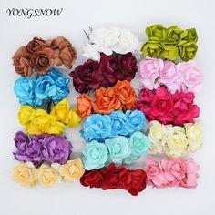 72Pcs/lot 3CM Artificial Paper Rhododendron Flowers Multicolor Flower  Bouquet DIY Craft Wreath Scrapbooking Wedding Decor 9Z