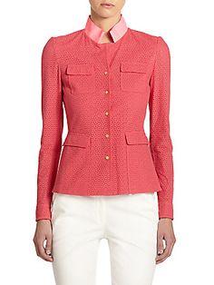 Elie Tahari Andie Ribbon-Collar Cotton Eyelet Jacket