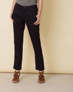 Pantalon noir chino en lin Fidji