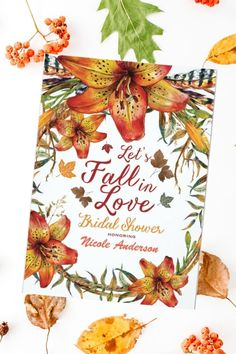 """This Fall Bridal Shower Invitation features floral design of Orange Lilies along with maple leaves foliage in autumn color scheme. The phrase """"Let's FALL IN LOVE"""" and the couple' names are the same color tons. It is part of a set collection of wedding stationery with the same Floral Orange Lilies themed style and color palette that you can edit and personalize. Bachelorette Invitations, Rustic Bridal Shower Invitations, Couples Shower Invitations, Simple Wedding Invitations, Printable Wedding Invitations, Elegant Invitations, Floral Invitation, Wedding Invitation Design, Wedding Stationery"""