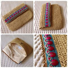 My specialty for summer clutch 2015 Oriental blue&pink Crochet Clutch Bags, Crochet Purses, Crochet Bags, Crochet Diy, Love Crochet, Bead Crochet, Best Leather Wallet, Diy Wallet, Boho Bags