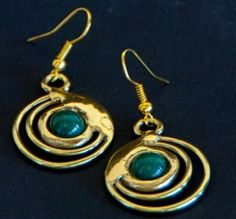 Green Jade Concentric Earrings $34.99