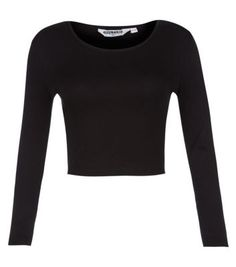 Teens Black Long Sleeve Ribbed Crop Top
