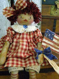 Primitive Americana Raggedy Ann Doll Old Quilt Flag Folk Art Raggedy Ann 4th Jul | eBay