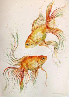 Gold Fish Painting, Underwater Painting, China Painting, Watercolor Fish Tattoo, Watercolor Pencil Art, Watercolor Paintings, Koi Art, Fish Art, Fish Drawings