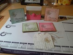 3x3 cards with tags and box made with stampin up card and a mixture of stampin ip and Inkylicious stamps