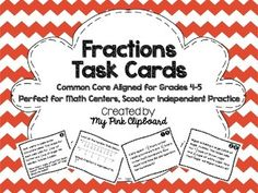 Great word problem task cards for fractions!