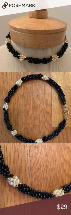 Dressy black choker - black beads with gold accent Dressy black choker for your Little Black Dress! Black beads with gold accents and cream pearl looking clusters. Jewelry Necklaces