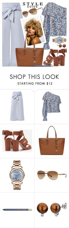 """""""Wide Leg Trousers & Floral Top"""" by brendariley-1 ❤ liked on Polyvore featuring Topshop, MICHAEL Michael Kors, Chopard, Burberry, Pixi and DaVonna"""