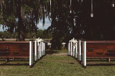 Vintage Church Pews | Vintage Southern Wedding at Magnolia Plantation Carriage House by Charleston Wedding Planner ELM Events