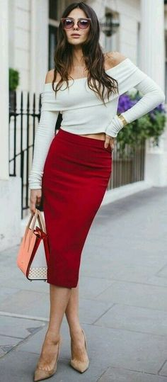 Rock a white off shoulder top with a red midi skirt to feel confident and l White Off Shoulder Top, High Waisted Pencil Skirt, Pencil Skirts, Pencil Dresses, Midi Skirt, Long Pencil Skirt, Denim Skirt, Red Skirts, Feminine Style