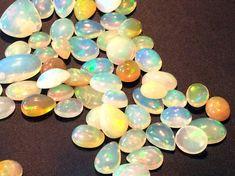 Ethiopian Welo Opal Cabochons Fire Opal Flat Back by gemsforjewels
