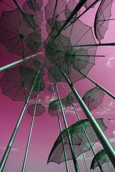 The Umbrellas (photographed from inside the art structure) is a work of art by George Zoggolopoulos and it stands on the New Promenade of the beautiful city of Thessaloniki, since 1997 when the city was Cultural Capital of Europe. It has become somekind of a modern symbol of the city.