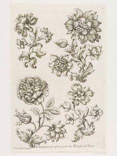 """""""Bouquets propres pour les Estofes de Tours"""" / par Paul Androuet du Cerceau (v.1630-1710) / A Paris chez N. Langlois, 1670-1685 – Londres, Victoria & Albert Museum"""