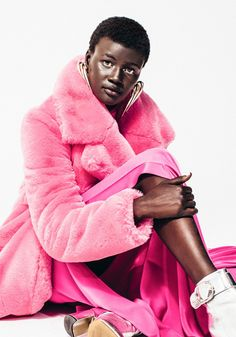 How to Wear the Neon Trend This Fall - CoveteurKhoudia Diop Wears: Top and pants by Cushnie Jacket by Milly Boots by Alias Mae Earrings by Victoria Hayes Silver Boots, Fur Jackets, Oversized Coat, Fur Coats, Fashion 2018, Faux Fur, Autumn Fashion, Dressing, Victoria