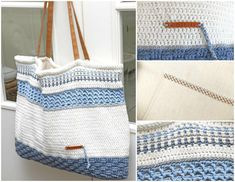 Bolso de playa de ganchillo Jip by Jan Bolso de ganchillo , Crochet Beach Bags, Crochet Tote, Crochet Handbags, Crochet Purses, Cute Crochet, Crochet Shell Stitch, Sweet Bags, Diy Bags Purses, Cotton Bag