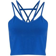 Miss Selfridge Petites Blue Strap Crop Top (23 BRL) ❤ liked on Polyvore featuring tops, crop top, shirts, tank tops, petite, cobalt blue, petite cotton tops, cut-out crop tops, cobalt blue top and blue crop top