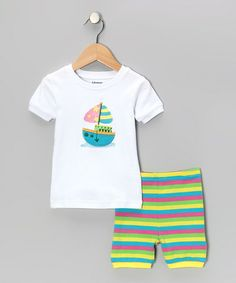 Take a look at this White Stripe Sailboat Pajama Set - Infant, Toddler & Kids by Leveret on #zulily today!