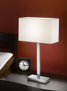 TL875 9867 Rectangle Table Lamp Chrome Off White Shade Finish