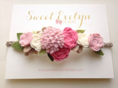 Rose Pink Coral and Ivory Felt Flower Halo by SweetEvelynDesigns