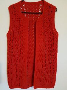 Vintage 1980s red crochet vest festival top by VintageTwists