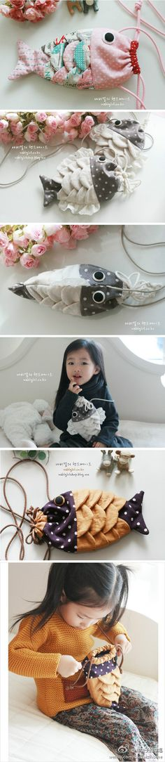 Korean Fish Drawstring Bag-I would probably never sew it, but it's so cool!!
