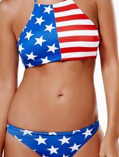 16217d6e3b Swimwear & Beachwear for Women : Women's Halter American Flag Print Bikini  Set
