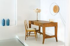 Wall Lamp by Sabine Marcelis  Desk and chair by Gio Ponti  Table Lamp by Hans-Agne Jakobsson  Blue Vase by Glithero