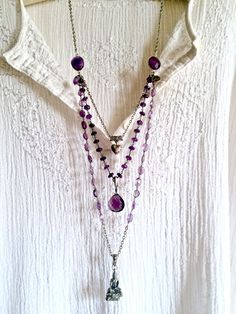 buddha's bliss- amethyst triple strand silver pendant huge purple amethyst gemstone beaded necklace sundance style boho thai heart long