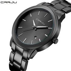 7dede5c8e17 Fashion Black Full Steel Men Casual Quartz Watch Men Clock Male Military  Wristwatch Gift Relojes Hombre CRRJU Brand Women watch-in Quartz Watches  from ...