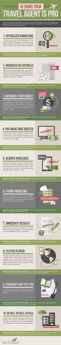 10 Signs Your Travel Agent is Pro #infographic #Travel