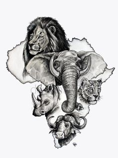 Big five zuid-afrika stensils en stempels african tattoo, af African Map, African Safari, Animal Sketches, Animal Drawings, Afrika Tattoos, Africa Drawing, Out Of Africa, South Africa Art, Black Artwork