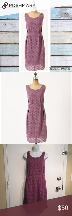 Anthropologie Maeve Purple Eyelet Dress Anthropologie Maeve purple Eyelet dress with pockets. Size 8. Gathered at the waist for a flattering fit. Perfect for spring and Easter! No modeling. Smoke free home. I do discount bundles. Anthropologie Dresses