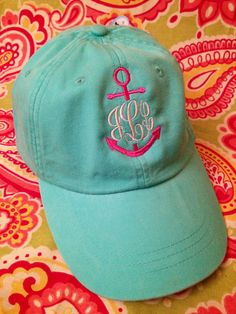Ladies Monogrammed anchor baseball cap. Embroidered. Choose hat/thread color.Mom, Bride, summer, beach, nautical on Etsy, $18.50