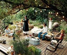 You may have already kicked off your backyard grilling with a patio party, but maybe you could use a few more tips on making sure it's spruced up for your next summer soiree. Here are a few of our favorite tips for kicking it up a notch on the patio. Rustic Gardens, Outdoor Gardens, Outdoor Rooms, Outdoor Living, Outdoor Seating, Outdoor Chairs, Lounge Seating, Outdoor Kitchens, Outdoor Life