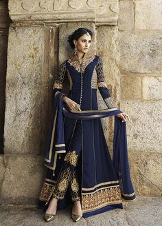 Navy Blue Georgette Designer Anarkali Suit 63413