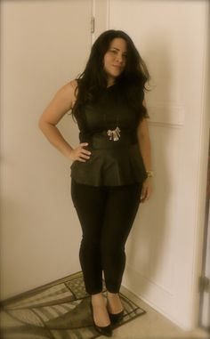Simple Peplum Top from Macys, black fitted pants, pointed toe shoes and a simple necklace made myself repurposed from a thrift store find.
