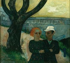 Felix Nussbaum - Couple on the River Bank (Self Portrait with Felka Platek) 1932