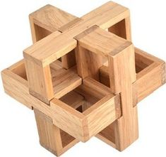 "Wooden Kongming Lock Puzzle - Size: 3.2"" x 3.2""(WXJW) - Great Wall Bookstore, Las Vegas"