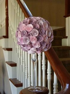 "Paper Rose Topiary. Takes 3 hrs. to make flowers using the tutorial. Flowers are made from scrapbook paper attached w/pins to 6"" styrofoam ball & sitting on top of cute vase/candlestick"