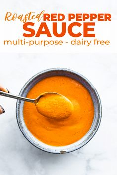 Roasted red pepper sauce is delicious on pasta, vegetables, or as a snack dip. Make this anti inflammatory recipe in only 5 minutes! #reduceinflammation #dairyfree #vegansauces #roastedpeppers Vegan Recipes Videos, Delicious Vegan Recipes, Good Healthy Recipes, Amazing Recipes, Easy Recipes, Roasted Red Pepper Sauce, Roasted Red Peppers, Best Sauce Recipe, Nightshade Free Recipes