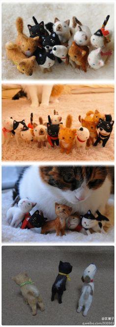 #羊毛毡#rai*chi 的作品 可爱简单的猫猫狗狗很适合新手但组合起来也超级萌哟