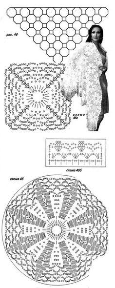 Ажурные шали. / Вязание крючком / Женская одежда крючком. Схемы.
