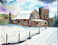 Art Print, Original watercolor print, Barns, brown barns, snow scene, barns in winter, winter farm, silo, barn