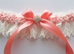 Wedding Garter Ivory Lace Over Coral Satin with Rhinestone Centered Bow - The KIMBERLY Garter.