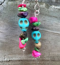 Day of the Dead Turquoise Sugar Skull Earrings by SoSheDidShop
